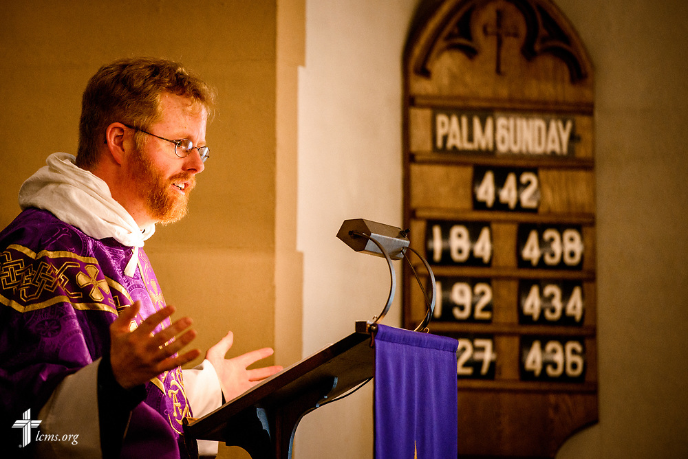 The Rev. Roy Axel Coats, pastor of Lutheran Church of the Redeemer, Baltimore, preaches during worship on Palm Sunday, March 25, 2018. LCMS Communications/Erik M. Lunsford