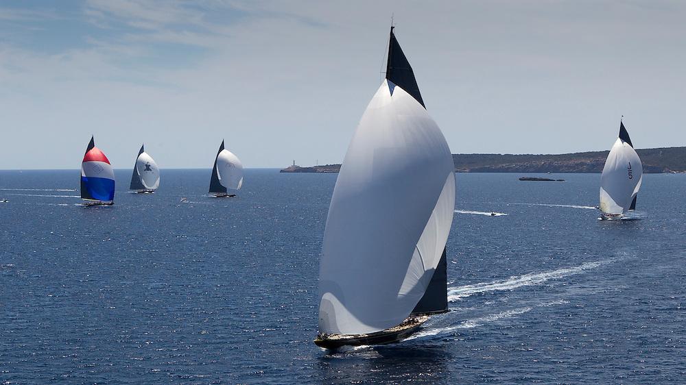 SPAIN, Palma. 21st June 2013. Superyacht Cup. J Class. Race three, coastal race. L-R, Velsheda, Hanuman, Rainbow, Lionheart, Ranger.