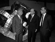 19/08/1988<br /> 08/19/1988<br /> 19 August 1988<br /> Opening of ROSC '88 at the Guinness Hop Store, Dublin. President Patrick Hillery (centre)who officially opened the exhibition listens intently as Patrick Murphy, ROSC Chairman, (left) explains an exhibit, with Harry Byrne (right)  Financial Director, Guinness Ireland.