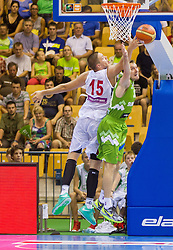 Vladimir Stimac of Serbia vs Zoran Dragic of Slovenia during friendly match between National teams of Slovenia and Serbia for Eurobasket 2013 on August 3, 2013 in Arena Zlatorog, Celje, Slovenia. Slovenia derated Serbia 67-52. (Photo by Vid Ponikvar / Sportida.com)