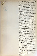 Handwritten notes for a speech supporting a bill offering amnesty to the communards (participants in the Paris Commune), 1876, page 2 (addition), by Victor Hugo, 1802-85, French writer, housed in the Archives du Senat, in the Senate in the Palais du Luxembourg, 6th arrondissement, Paris, France. Hugo was a senator for Seine 1876-85, and gave this speech on 22nd May 1876. Although this bill was not passed, a general amnesty was granted in 1880. Picture by Manuel Cohen