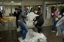 Setting up the Vodka filled ice Sculpture in the  Presidential Suite at the Opening Ceremony of the 2014 Sochi Winter Paralympic Games, Sochi, Russia