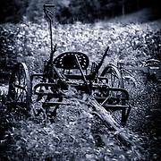 Farming equipment in a corn field, cyanotype