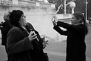 SUE TILLEY; LOUISE WILSON, INTERCOURSE: Re-enacting Eisenstein: The Odessa Steps Sequence from Battleship Potemkin<br /> Jane and Louise Wilson directed the re-enactment on the steps outside the ICA. 26 November 2011.