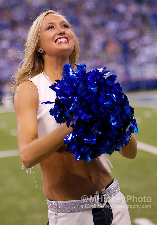 Nov. 27, 2011; Indianapolis, IN, USA; An Indianapolis Colts cheerleader seen during the game seen at game against the Carolina Panthers at Lucas Oil Stadium. Mandatory credit: Michael Hickey-US PRESSWIRE