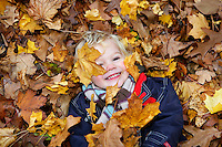 Boy (3-4) Lying on ground covered in autumn leaves