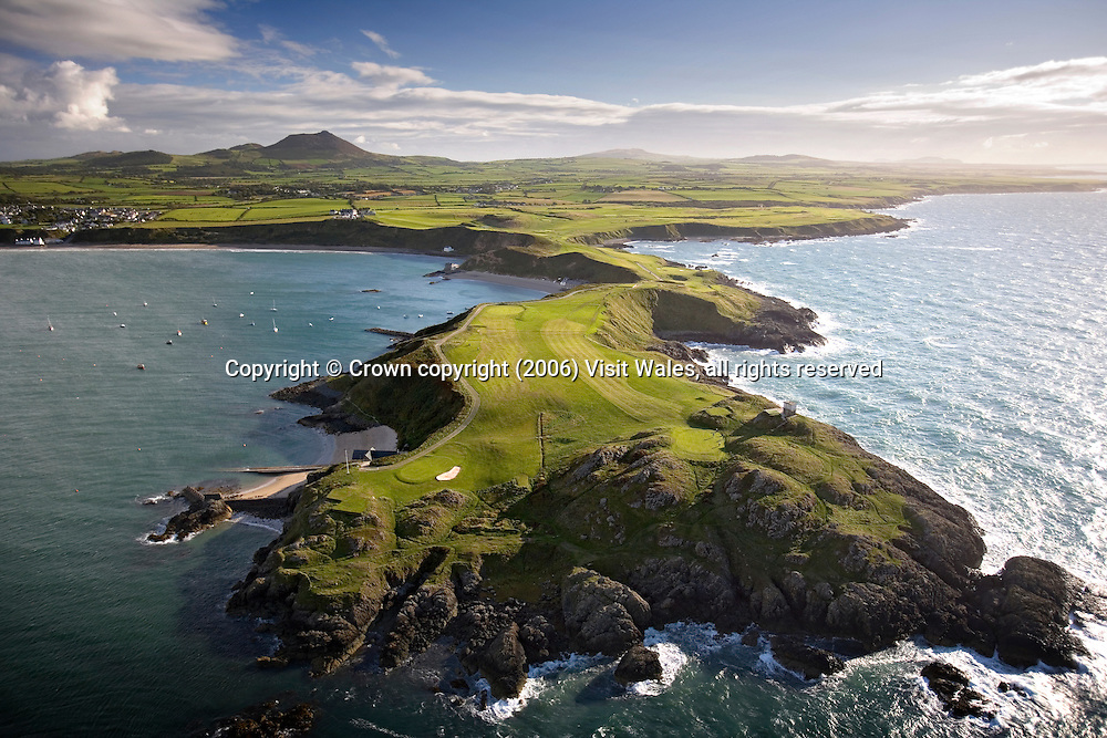 Aerial of Old Course on Porth Dinllaen Peninsula<br /> Nefyn &amp; District Golf Club<br /> North<br /> Golf<br /> Activities &amp; Sports