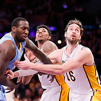 05 January 2014: Denver Nuggets power forward J.J. Hickson (7) vies for the rebound with Los Angeles Lakers center Pau Gasol (16) and Los Angeles Lakers small forward Nick Young (0) during the Denver Nuggets  137-115 victory over the Los Angeles Lakers at the Staples Center, Los Angeles, California, USA.