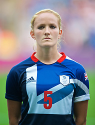 COVENTRY, ENGLAND - Friday, August 3, 2012: Great Britain's Sophie Bradley lines-up for the national anthems during the Women's Football Quarter-Final match between Great Britain and Canada, on Day 7 of the London 2012 Olympic Games at the Rioch Arena. Canada won 2-0. (Photo by David Rawcliffe/Propaganda)