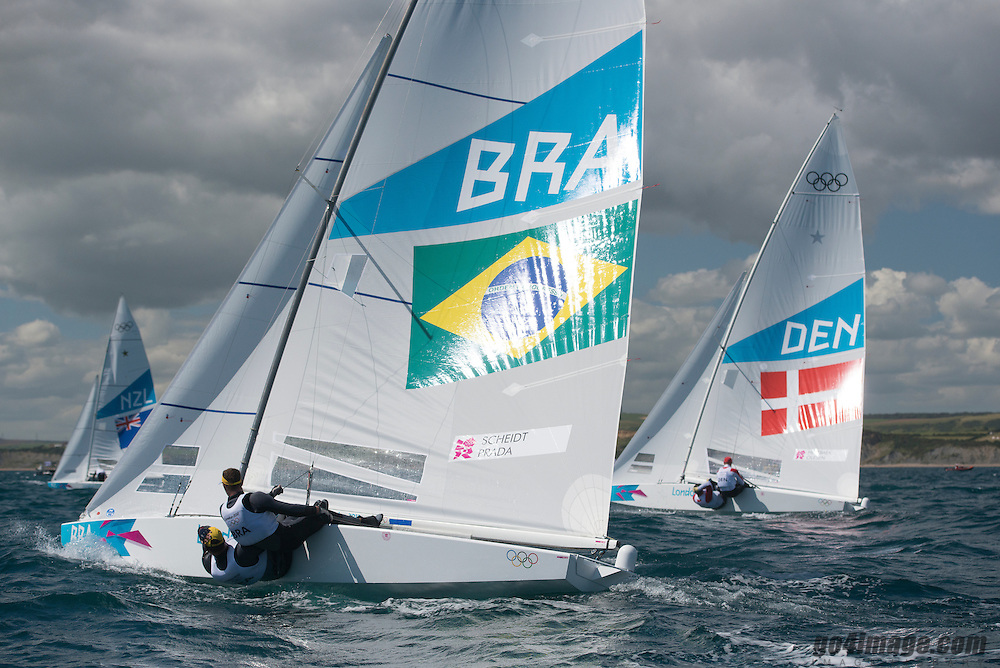 2012 Olympic Games London / Weymouth<br /> <br /> Star practice race<br /> StarBRAScheidt Robert, Prada Bruno<br /> StarDENHESTBAEK Michael, Olesen Claus