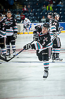 KELOWNA, CANADA - SEPTEMBER 25: Riley Stadel #3 of Kelowna Rockets warms up against the Kamloops Blazers on September 25, 2015 at Prospera Place in Kelowna, British Columbia, Canada.  (Photo by Marissa Baecker/Shoot the Breeze)  *** Local Caption *** Riley Stadel;