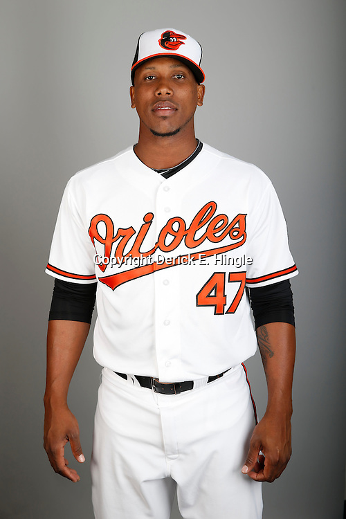Feb 22, 2013; Sarasota, FL, USA; Baltimore Orioles relief pitcher Pedro Strop (47) at the Orioles clubhouse. Mandatory Credit: Derick E. Hingle-USA TODAY Sports