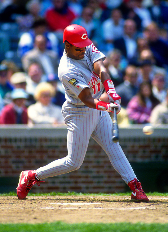 CHICAGO-CIRCA 1994:  Barry Larkin of the Cincinnati Reds bats against the Chicago Cubs during an MLB game at Wrigley Field in Chicago, Illinois.  Larkin played for the Reds from 1986-2004.   (Photo by Ron Vesely)   Subject: Barry Larkin.