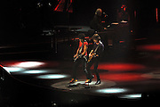 Ronnie Wood and MIck Jagger playing guitar together. Rolling Stones 14 on Fire tour, Perth, Western Australia