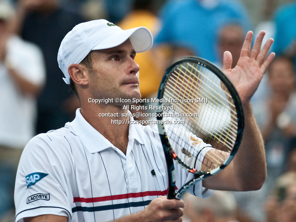 September 05, 2012: A tearful Andy Roddick bids fans farewell after loosing to Juan Martin Del Potro of Argentina in the round of 16, making this Andy's last match at the US Open tennis tournament at the Billie Jean King National Tennis Center in Flushing, NY. Roddick announced his retirement earlier this week.