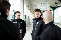 Ziga Pance, Jan Urbas, Andrej Hebar during departure to Budapest of Slovenian Ice Hockey National Team, on April 17, 2017 in Railway station, Ljubljana, Slovenia. Photo by Vid Ponikvar / Sportida