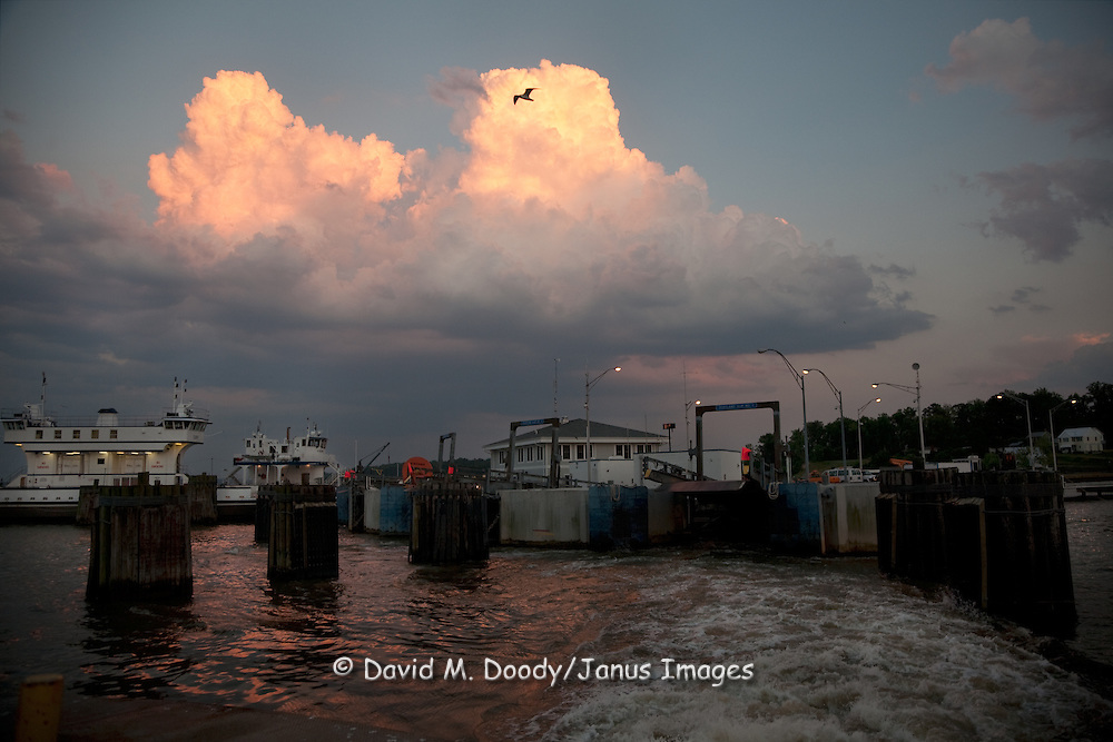 Jamestown-Scotland Ferry across the James River, Virginia at dusk. Ferry is operated by VDOT.