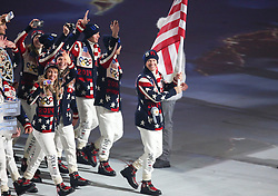 07.02.2014, Olympiastadion Fischt, Adler, RUS, Sochi 2014, Eröffnungsfeier der XXII. Olympischen Winterspiele, im Bild Team USA mit Fahnentraeger Todd Lodwick // Team USA with flag bearer Todd Lodwick during the Opening Ceremony of the Olympic Winter Games Sochi 2014 at the Fisht Olympic Stadium in Adler, Russia on 2014/02/07. EXPA Pictures © 2014, PhotoCredit: EXPA/ Johann Groder