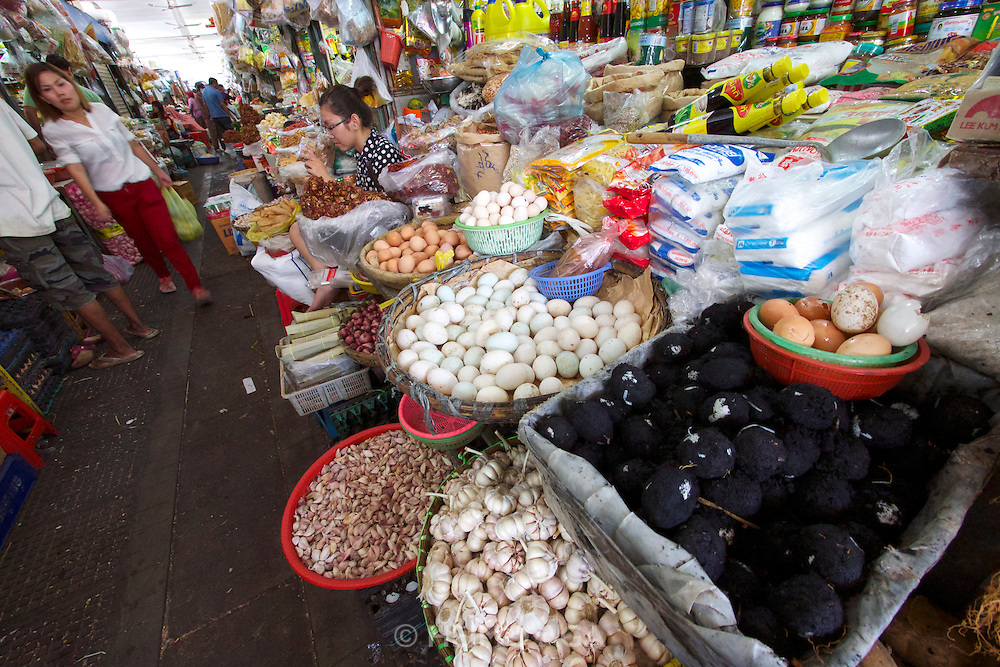 Phnom Penh, Cambodia. Central Market. 100 years old eggs.