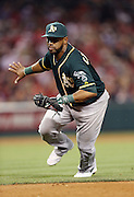 ANAHEIM, CA - APRIL 16:  Alberto Callaspo #18 of the Oakland Athletics waves off the pitcher with an outstretched hand as he runs to tag first base for a force out in the bottom of the 5th inning during the game against the Los Angeles Angels of Anaheim at Angel Stadium on Wednesday, April 16, 2014 in Anaheim, California. The Angels won the game 5-4 in 12 innings. (Photo by Paul Spinelli/MLB Photos via Getty Images) *** Local Caption *** Alberto Callaspo