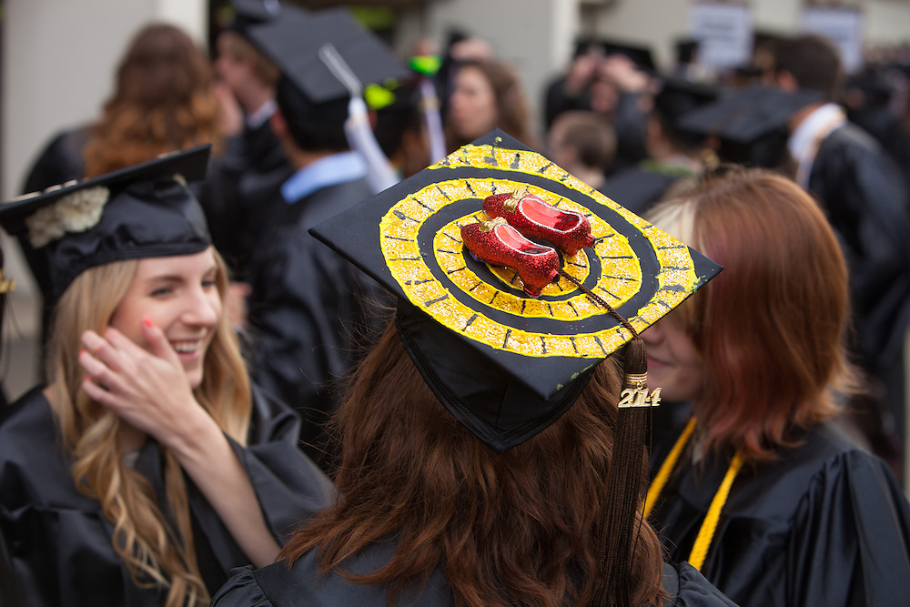 Kansas resident, Hannah Van Brunt honor her home state on her mortarboard with a Wizard of Oz theme, Saturday May 3, 2014 at Ohio University's Commencement Ceremony.  Photo by Ohio University / Jonathan Adams