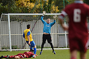 Hollands and Blair striker James McDonald chips the keeper for Hollands and Blair's first goal during the Southern Counties East match between AFC Croydon Athletic and Hollands & Blair at the Mayfield Stadium, Croydon, United Kingdom on 10 October 2015. Photo by Mark Davies.