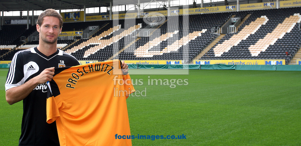 Picture by Richard Gould/Focus Images Ltd. 07710 761829.19/07/12.Hull City announce their new player Nick Proschwitz during a press conference at the KC Stadium, Hull, East Riding of Yorkshire.