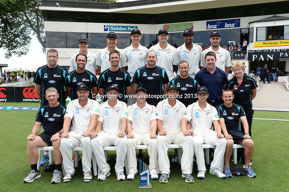 Team photo on Day 4 of the 3rd cricket test match of the ANZ Test Series. New Zealand Black Caps v West Indies at Seddon Park in Hamilton. Sunday 22 December 2013. Photo: Andrew Cornaga / www.Photosport.co.nz