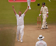 Bowler Andrew Flintoff appeals in vain for the wicket of Brad Haddin during the second npower Test Match between England and Australia at Lord's.