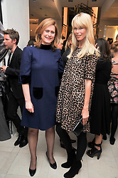 Left to right, SARAH BROWN wife of Prime Minister Gordon Brown and Claudia Schiffer at a reception hosted by Vogue and Burberry to celebrate the launch of Fashions Night Out - held at Burberry, 21-23 Bond Street, London on 10th September 2009.