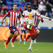 Peguy Luyindula, New York Red Bulls, in action during the New York Red Bulls V Chivas USA, Major League Soccer regular season match at Red Bull Arena, Harrison, New Jersey. USA. 30th March 2014. Photo Tim Clayton