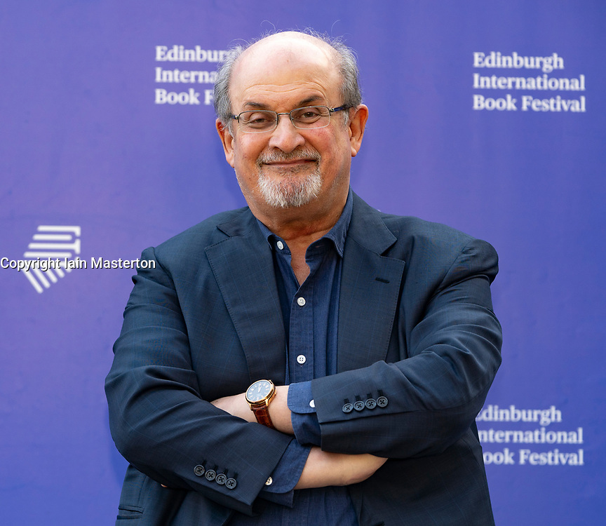 Edinburgh, Scotland, UK. 26 August 2019. Salman Rushdie. Rushdie's new book Quichotte is a retelling of Don Quixote set in modern day USA. Iain Masterton/Alamy Live News.