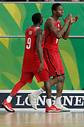 14th April 2018, Gold Coast Convention and Exhibition Centre, Gold Coast, Australia; Commonwealth Games day 10, Basketball Mens Semifinal; New Nealand versus Canada Mamadou Gueye of Canada applauds the fans with Munis Tutu after the game in which he scored the winning points
