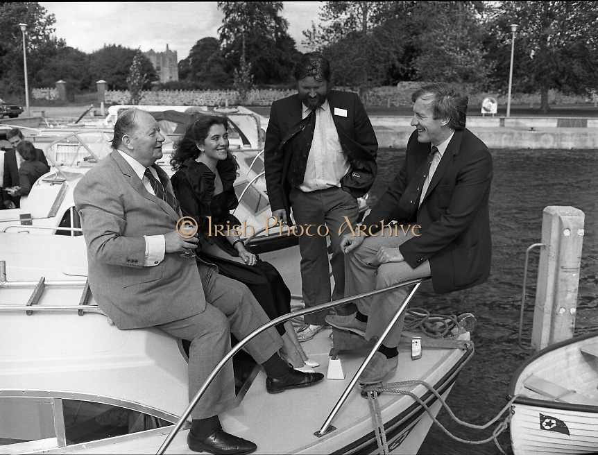 "Galway Oyster Festival..1982.09.09.1982.09.09.1982.9th September 1982..The Festival was held on the banks of the Shannon at Portumna Co.,Galway..It was held in the picturesque new marina. The event was sponsored by Guinness. Emerald Star line were also represented.Picture shows Mr.R.B.Howick,Trade Director,Guinness Group Sales.Ms Marion Fitzpatrick, Oyster Festival ""Pearl"". Mr John Lefroy, Manager, Emerald Star Line and Festival Chairman Mr. Donal Morrissy"