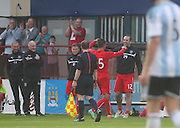 Luka Tankulic celebrates with Gary Harkins after scoring a great free kick to complete the scoring - Dundee v Hearts, preseason friendly at Dens Park<br /> <br />  - &copy; David Young - www.davidyoungphoto.co.uk - email: davidyoungphoto@gmail.com
