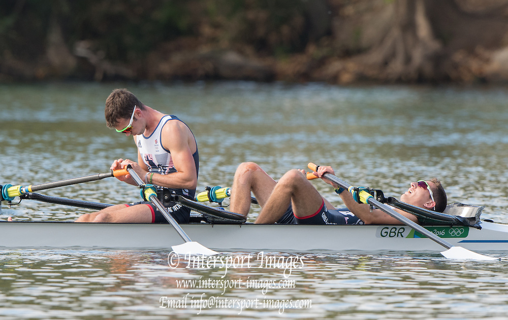 Rio de Janeiro. BRAZIL.  GBR LM2X Bow William FLECTHER and Richard CHAMBERS2016 Olympic Rowing Regatta. Lagoa Stadium,<br /> Copacabana,  &ldquo;Olympic Summer Games&rdquo;<br /> Rodrigo de Freitas Lagoon, Lagoa. Local Time 09:18:49  Thursday  11/08/2016 <br /> [Mandatory Credit; Peter SPURRIER/Intersport Images]