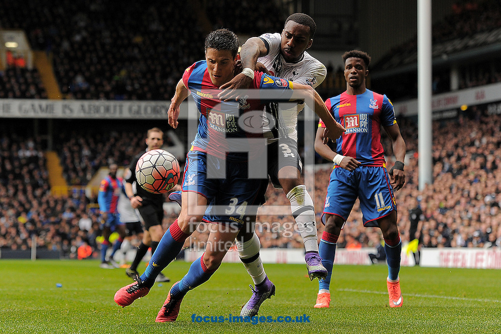 Martin Kelly of Crystal Palace does battle with Danny Rose of Tottenham Hotspur during the FA Cup match between Tottenham Hotspur and Crystal Palace at White Hart Lane, London<br /> Picture by Richard Blaxall/Focus Images Ltd +44 7853 364624<br /> 21/02/2016