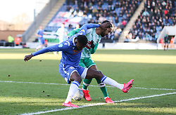 Theo Robinson of Colchester United and Byron Moore of Plymouth Argyle tussle for the ball - Mandatory by-line: Arron Gent/JMP - 08/02/2020 - FOOTBALL - JobServe Community Stadium - Colchester, England - Colchester United v Plymouth Argyle - Sky Bet League Two