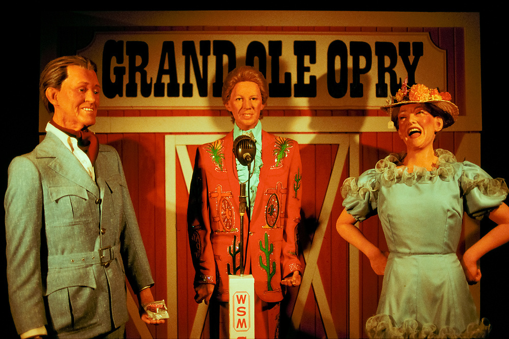 Roy Acuff, Porter Wagoner, and Minnie Pearl wax statues at The Country Music Wax Museum and the Sidewalk of Fame in Nashville, TN (1999)
