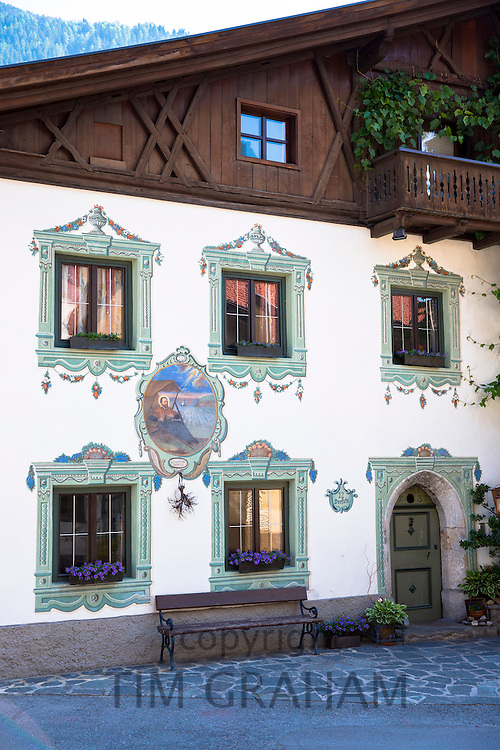 Traditional old 18th Century Tyrolean house built 1787 in the town of Oetz in the Tyrol, Austria