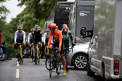 Pauliena Rooijakkers (NED) of CCC-Liv Team chats to Rozanne Slik (NED) of Tibco-Silicon Valley Bank Cycling Team before Stage 5 of 2019 OVO Women's Tour, a 140 km road race from Llandrindod Wells to Builth Wells, United Kingdom on June 14, 2019. Photo by Balint Hamvas/velofocus.com