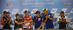 September 23, 2017 - AlcañIz, Teruel, Spain - 44 Miguel Oliveira (Por) Red Bull Ktm Ajo Ktm .#46 Valentino Rossi (Italian) Movistar Yamaha Motogp Yamaha.#25 Maverick Viñales (Spanish) Movistar Yamaha Motogp.n Yamaha .#99 Jorge Lorenzo (Spanish) Ducati Team Ducati.#88 Jorge Martin (Spa) Del Conca Gresini Moto3 Honda and Ana Carrasco in the qualifying press conference of the Gran Premio Movistar de Aragon, Circuit of Motorland, Alcañiz, Spain. Saturday, 23rd september, 2017. (Credit Image: © Jose Breton/NurPhoto via ZUMA Press)