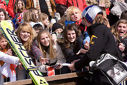 Slovenian fans and Gregor Schlierenzauer of Austria during Flying Hill Individual Qualifications at 1st day of FIS Ski Flying World Championships Planica 2010, on March 18, 2010, Planica, Slovenia.  (Photo by Vid Ponikvar / Sportida)