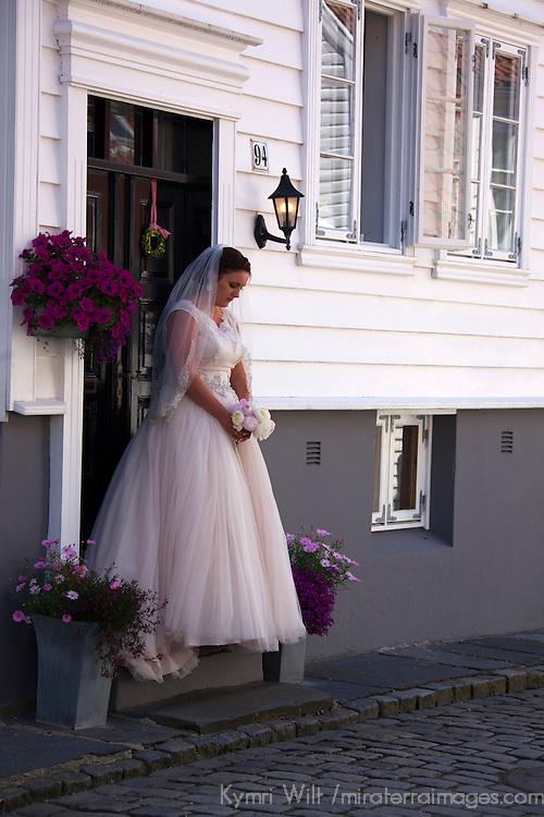 Europe, Norway, Stavanger. Norwegian bride in Stavanger on her wedding day.