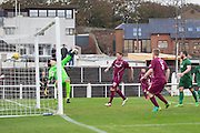 Colin Hamilton heads home Arbroath's equaliser - Arbroath v Stirling University FC, William Hill Scottish Cup Second Round at Gayfield, Arbroath. Photo: David Young<br /> <br />  - &copy; David Young - www.davidyoungphoto.co.uk - email: davidyoungphoto@gmail.com