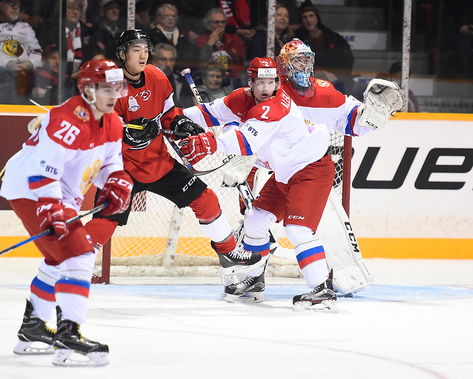 Action from game three of the CIBC Canada Russia Series in Owen Sound, ON on Thursday November 9, 2017. Photo by Aaron Bell/CHL Images