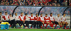 MELBOURNE, AUSTRALIA - Wednesday, July 24, 2013: Liverpool's Luis Suarez watches from the bench as a substitute against Melbourne Victory during a preseason friendly match at the Melbourne Cricket Ground. (Pic by David Rawcliffe/Propaganda)