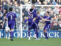Photo: Steve Bond/Richard Lane Photography. West Bromwich Albion v Newcastle United. Barclays Premiership. 07/02/2009. Peter Lovenkrands (lifted) celebrates goal no2