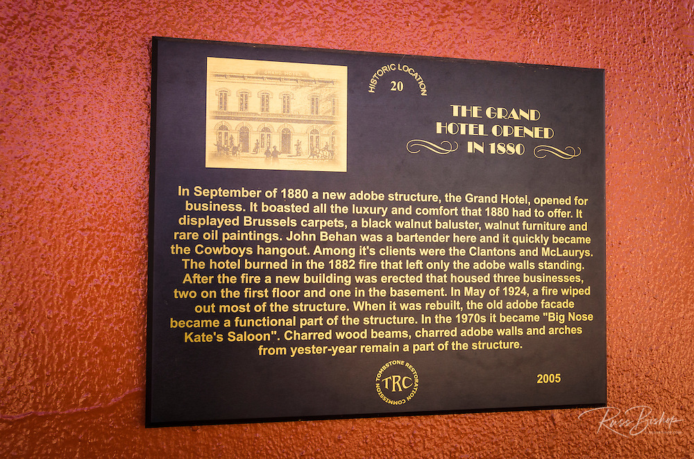 The Grand Hotel historic plaque, Tombstone, Arizona USA
