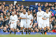 Swansea City forward Andre Ayew  celebrates his goal  during the Barclays Premier League match between Everton and Swansea City at Goodison Park, Liverpool, England on 24 January 2016. Photo by Simon Davies.